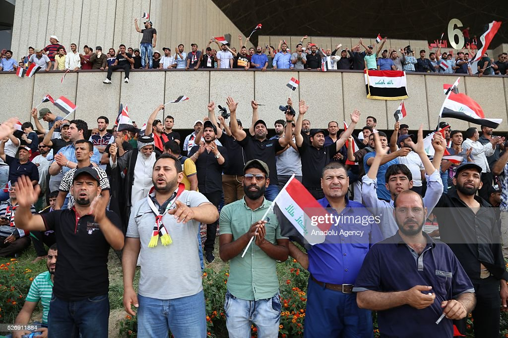 Supporters of Shiite cleric Muqtada al-Sadr gather at Grand Festivities Square in Baghdad's Green Zone on May 1, 2016.