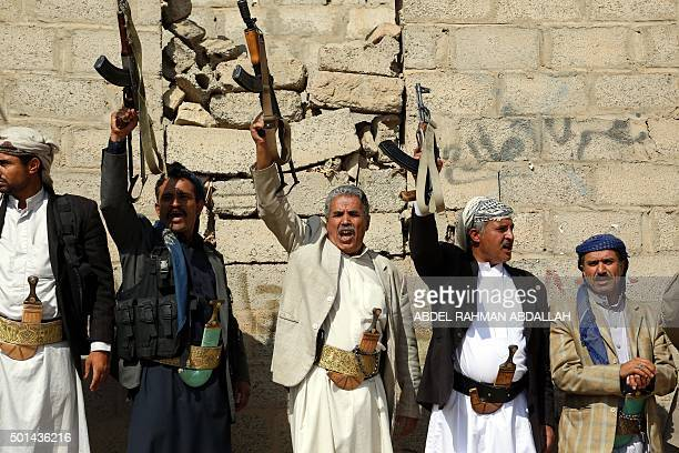 TOPSHOT Supporters of Shiite Huthi rebels and militiamen shout slogans during a rally against the Saudiled coalition which has been leading the war...