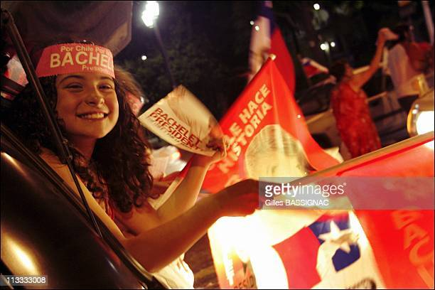 Supporters Of Socialist Candidate Michelle Bachelet Celebrate Her Victory In The RunOff Presidential Elections In Santiago Chile On January 15Th 2006...