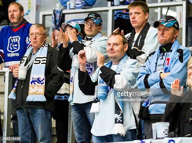 Supporters of Sonderjyske Vojens cheer during the Champions Hockey League group stage game between SonderjyskE Vojens and HV71 Jonkoping on September...