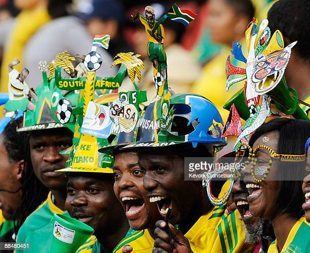 Supporters of South Africa celebrate during opening ceremony of the FIFA Confederation Cup prior to the opening match between South African and Iraq...