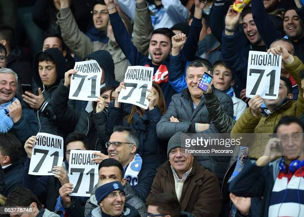 Supporters of SSC Napoli show some banners against Gonzalo Higuain during the Serie A match between SSC Napoli and Juventus FC at Stadio San Paolo on...