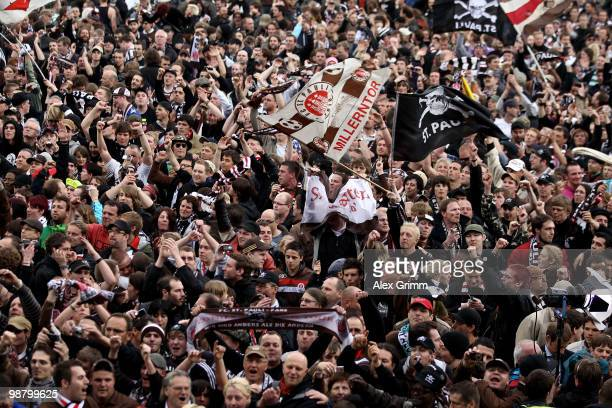 Supporters of St Pauli celebrate after the Second Bundesliga match between SpVgg Greuther Fuerth and FC St Pauli at the Playmobil Stadium on May 2...