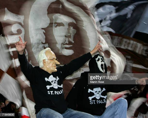Supporters of StPauli prior the DFB German Cup first round match between FC StPauli and Bayern Munich at the Millerntorstadion on September 9 2006 in...