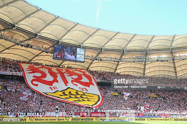 Supporters of Stuttgart dispaly the Stuttgart club logo prior to the Bundesliga match between VfB Stuttgart and 1 FC Koeln at MercedesBenz Arena on...