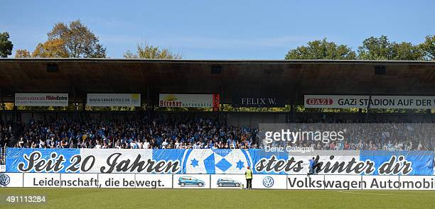 Supporters of Stuttgarter Kickers during the 3 Liga match between SV Stuttgarter Kickers and SG SonnenhofGrossaspach at GAZIStadion on October 3 2015...