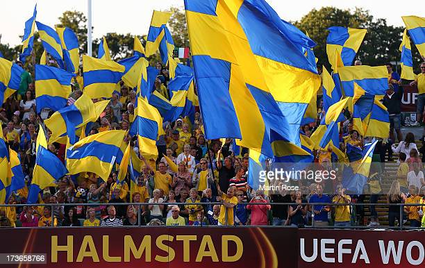 Supporters of Sweden cheer before the UEFA Women's Euro 2013 group A match between Sweden and Italy at Orjans Vall on July 16 2013 in Halmstad Sweden