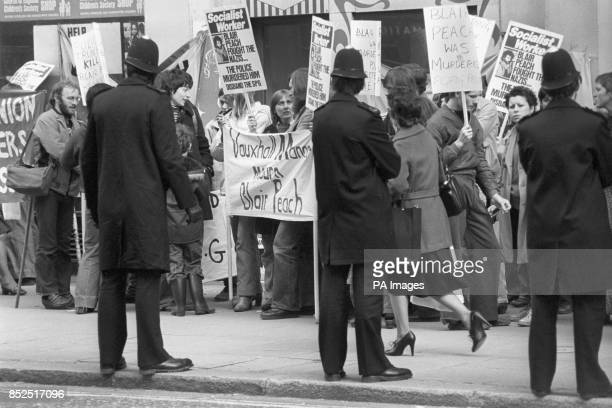 Supporters of Teachers Against the Nazis picketing New Scotland Yard in London when they handed in a letter of protest at the death of Blair Peach...