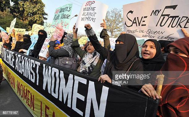 Supporters of TehrikeMinhaj ul Quran an Islamic Organisation protest against 'honour killings' of women in Lahore on November 21 2008 Human rights...
