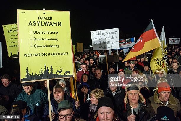 Supporters of the AfD in Thuringia take part at the first AfD Thuringia rally since the Cologne sex attacks on January 13 2016 in Erfurt Germany...