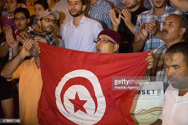 Supporters of the alNahda Movement gather in Habib Bourguiba Avenue Tunis to protest the hotel attack on June 26 2015 The attack on a tourist hotel...