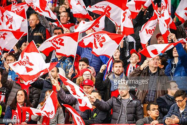 Supporters of the Austrian National Team cheer their team prior to the international friendly match between Austria and Turkey at ErnstHappelStadium...