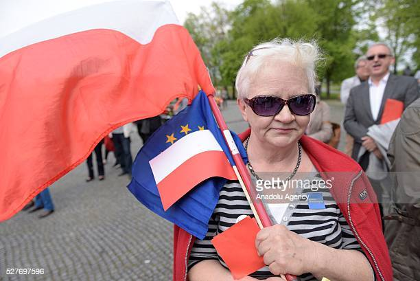 Supporters of the Committee for the Defense of Democracy attend the 'Nation says STOP' protest an antigovernment protest against Law and Justice...