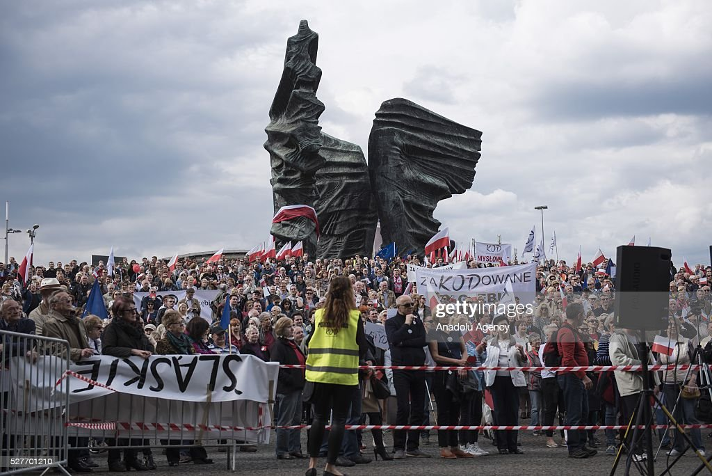 Supporters of the Committee for the Defense of Democracy attend the 'Nation says STOP' protest, an anti-government protest against Law and Justice Party government at the Silesian Insurgents' Monument, Katowice, Poland on May 03, 2016.