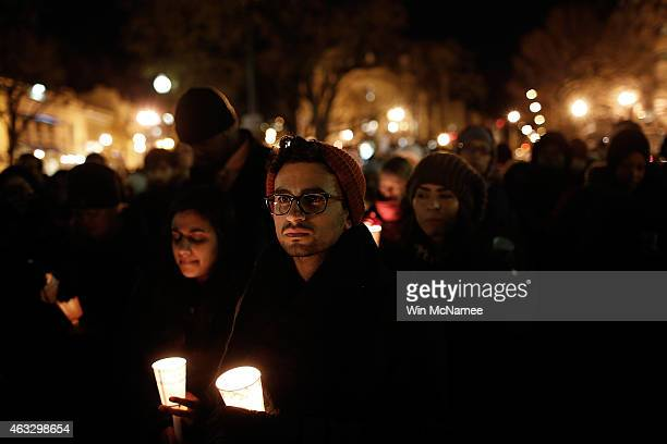 Supporters of the Council on AmericanIslamic Relations hold a vigil in Dupont Circle February 12 2015 in Washington DC The vigil was held to honor...