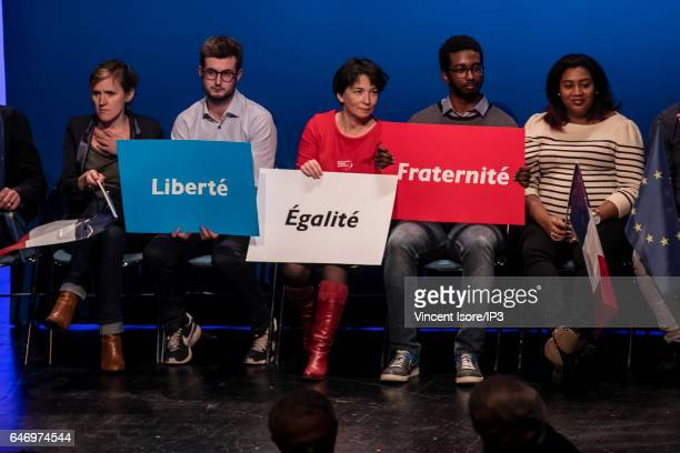Supporters of the former French Economy Minister Founder and Leader of the political movement 'En Marche ' and candidate for the 2017 French...