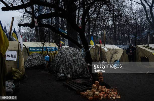 Supporters of the former Georgian President Mikheil Saakashvili from different regions of Ukraine camp outside the parliament demanding the...