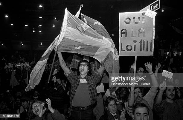 Supporters of the french language law 101 at a rally attempting to influence the Quebec provincial government's action with regards to the law after...