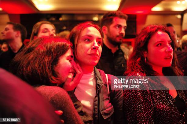 TOPSHOT Supporters of the French presidential election candidate for the leftwing French Socialist party Benoit Hamon react after the announcement of...