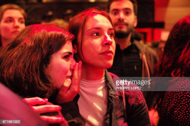 Supporters of the French presidential election candidate for the leftwing French Socialist party Benoit Hamon react after the announcement of the...