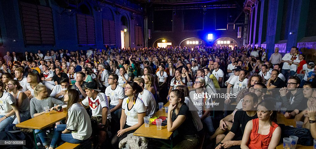 Supporters of the German national soccer team watch the UEFA EURO 2016 match between Germany and Slovakia at the Muffat Hall on June 26, 2016 in Munich, Germany.