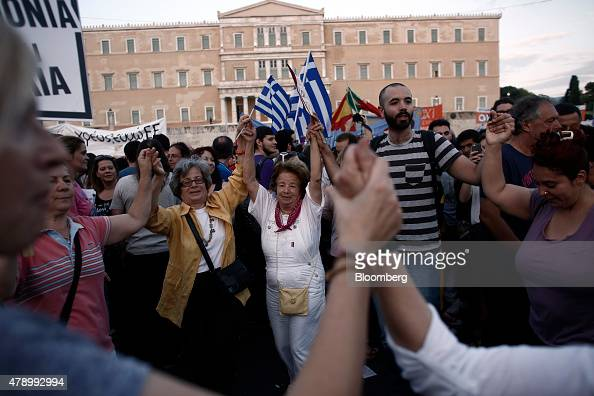Supporters of the Greek government dance in Syntagma Square in Athens Greece on Monday June 29 2015 European leaders intervened in Greece's...
