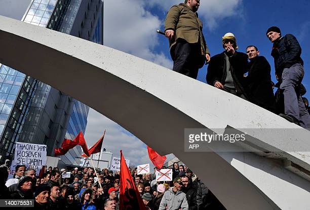 Supporters of the hardline ethnic Albanian SelfDetermination movement 'Vetvendosje' protest in Pristina on February 27 against a deal with Serbia...