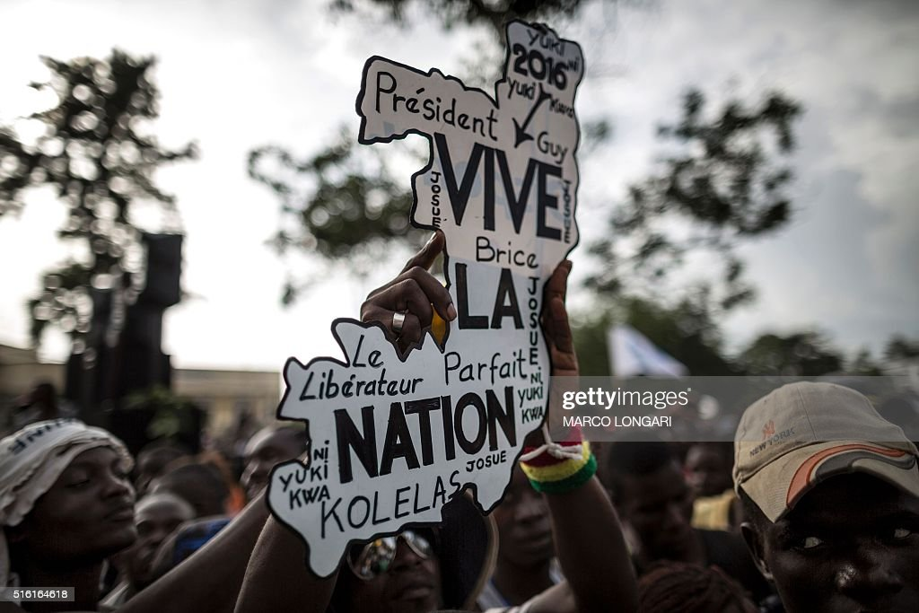 TOPSHOT Supporters of the Interim President of the Congolese Movement for Democracy and Integral Development Guy Brice Parfait Kolelas attend a...
