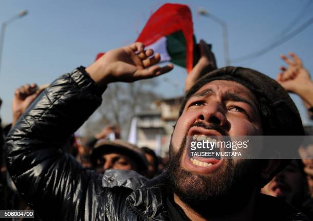 TOPSHOT Supporters of the Jammu and Kashmir Libration Front shout profreedom slogans during a protest in Srinagar on January 21 2016 Parts of the...
