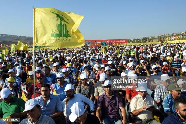Supporters of the Lebanese Shiite movement Hezbollah gather during a speech by the Hassan Nasrallah SecretaryGeneral of Hezbollah to mark the 11th...