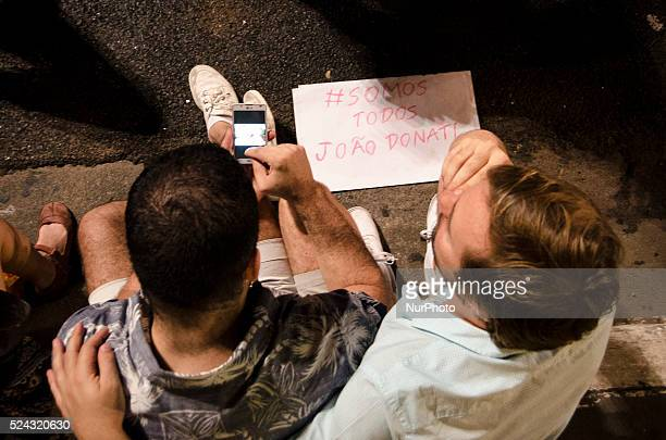 Supporters of the LGBT movement protest in downtown S��o Paulo Brazil this saturday on September 13 evening demanding laws against homophobia and...
