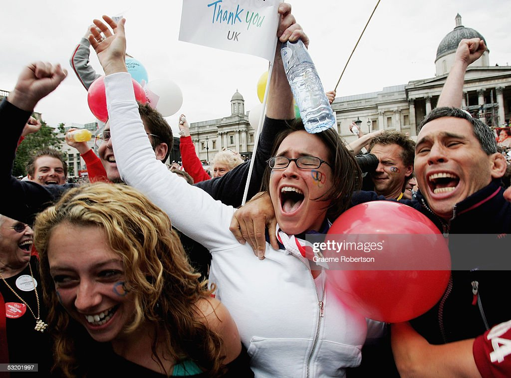 Supporters of the London bid celebrate the result of London winning their bid to become the host city of the 2012 Olympic Games on July 6 2005 in...