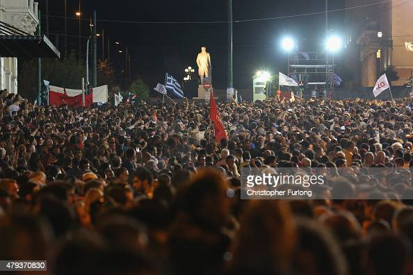 Supporters of the 'No' campaign attend a rally and listen to speeches at Syntagma Square in preparation for Sunday's referendum on July 3 2015 in...