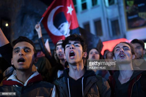 Supporters of the 'No' march at Besiktas to submit their petition to call for the annulment of a referendum that approved sweeping constitutional...