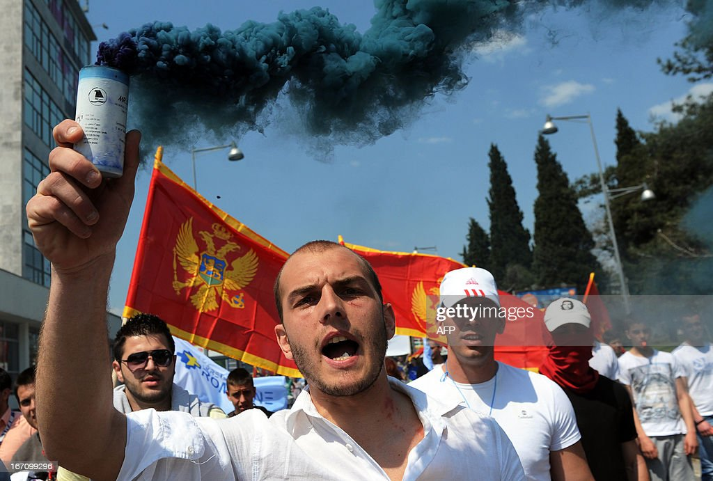 Supporters of the opposition candidate in the Montenegrin presidential vote Miodrag Lekic stage a protest in Podgorica on April 20, 2013. More than 5,000 opposition supporters protested in the Montenegrin capital against alleged fraud in an April 7 presidential election, demanding a new poll be called.