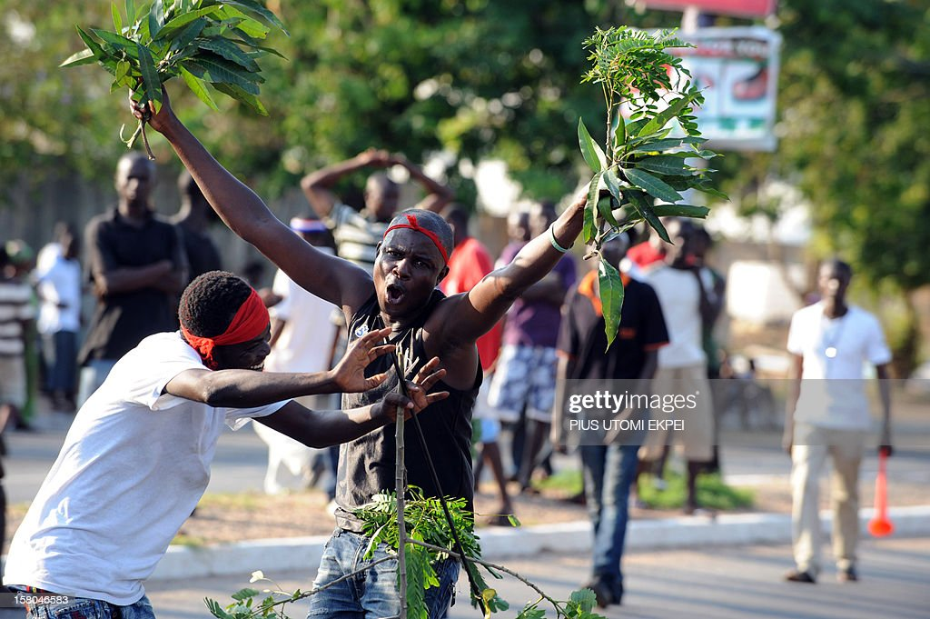 Supporters of the opposition New Patriotic Party protest against the results of the presidential election in Accra on December 9 2012 Ghanaian...