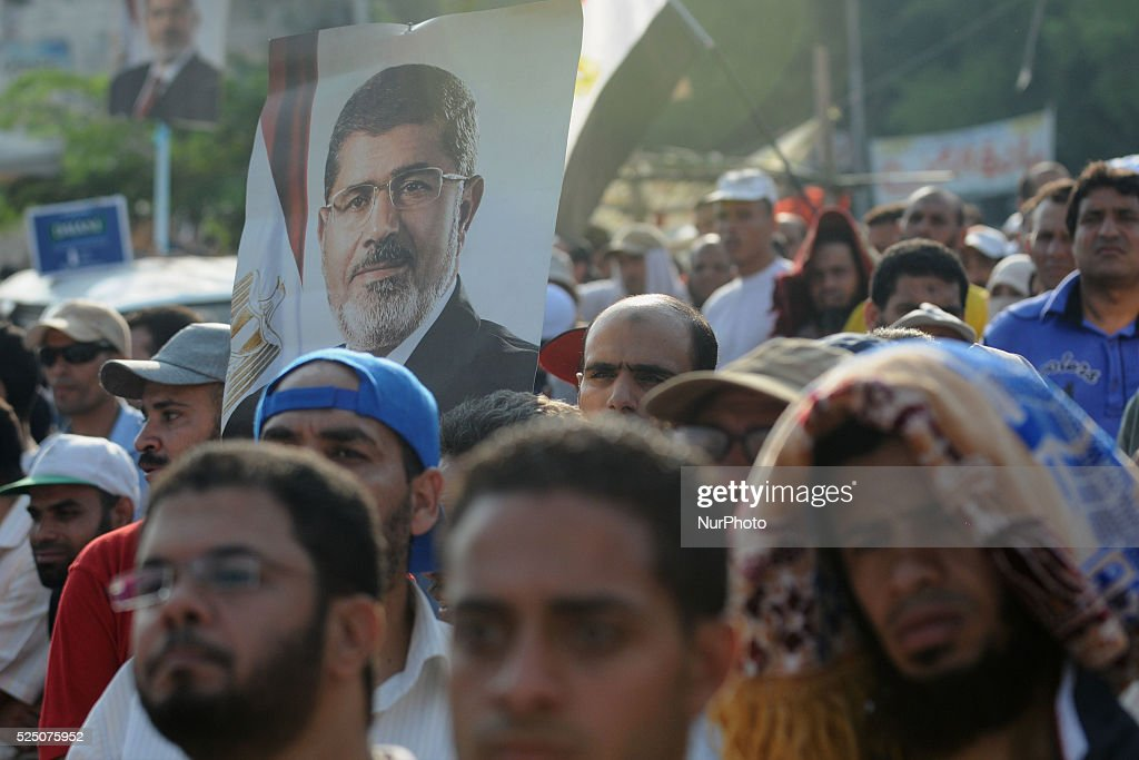 Supporters of the ousted President Mohammed Morsi gather in Nasser City suburb of Cairo Egypt Monday July 8 2013 Photo Nameer Galal/NurPhoto