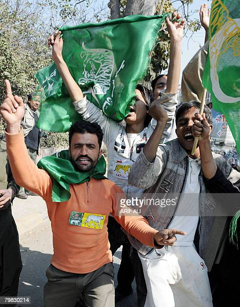 Supporters of the Pakistan Muslim League Nawaz of former prime minister Nawaz Sharif celebrate in Lahore on February 19 2008 The party which backed...