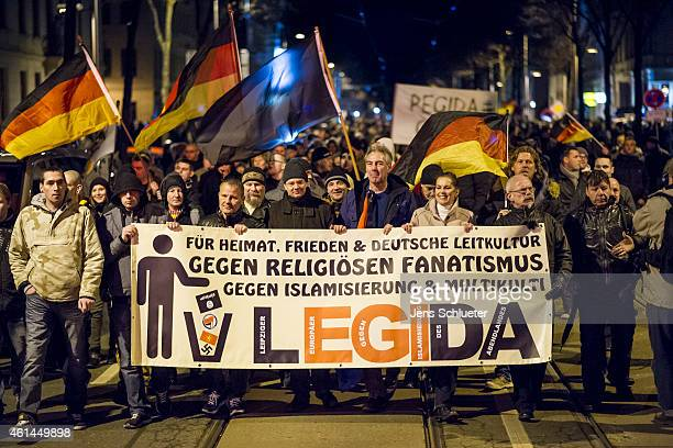 Supporters of the Pegida movement march for the first time in their own version of the protest which they have dubbed 'Legida' on January 12 2014 in...