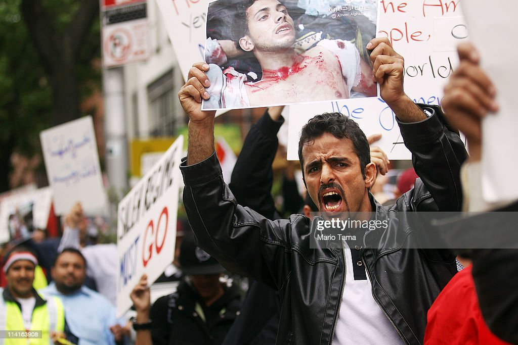 Supporters of the people of Yemen march during a demonstration calling for the departure of President Abdullah Ali Saleh and his regime May 13 2011...