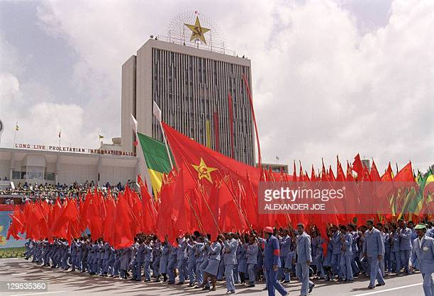 Supporters of the procommunist Ethiopian Workers' party holding Ethiopian and communist flags parade at Revolution Square in Addis Ababa 13 September...