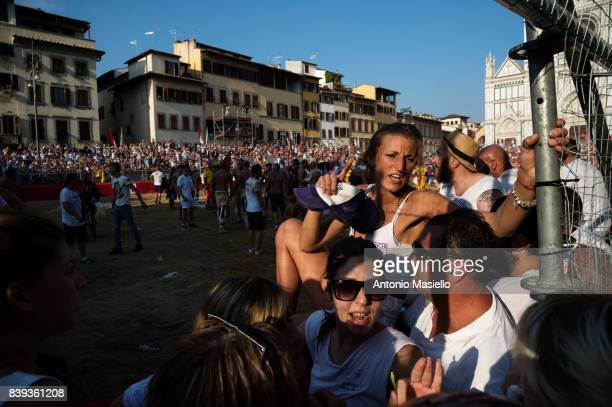 Supporters of the Santo Spirito Bianchi team during the final match of the Calcio Storico Fiorentino traditional 16th Century Renaissance ball game...