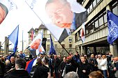 Supporters of the Serb Radical Party leader Vojislav Seselj is seen during a protest in front of the High Court in Belgrade Serbia on April 1 2015