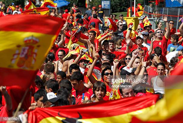 Supporters of the Spanish team attend a public viewing of the 2010 FIFA World Cup South Africa Final match between Spain and Netherlands at Paseo...