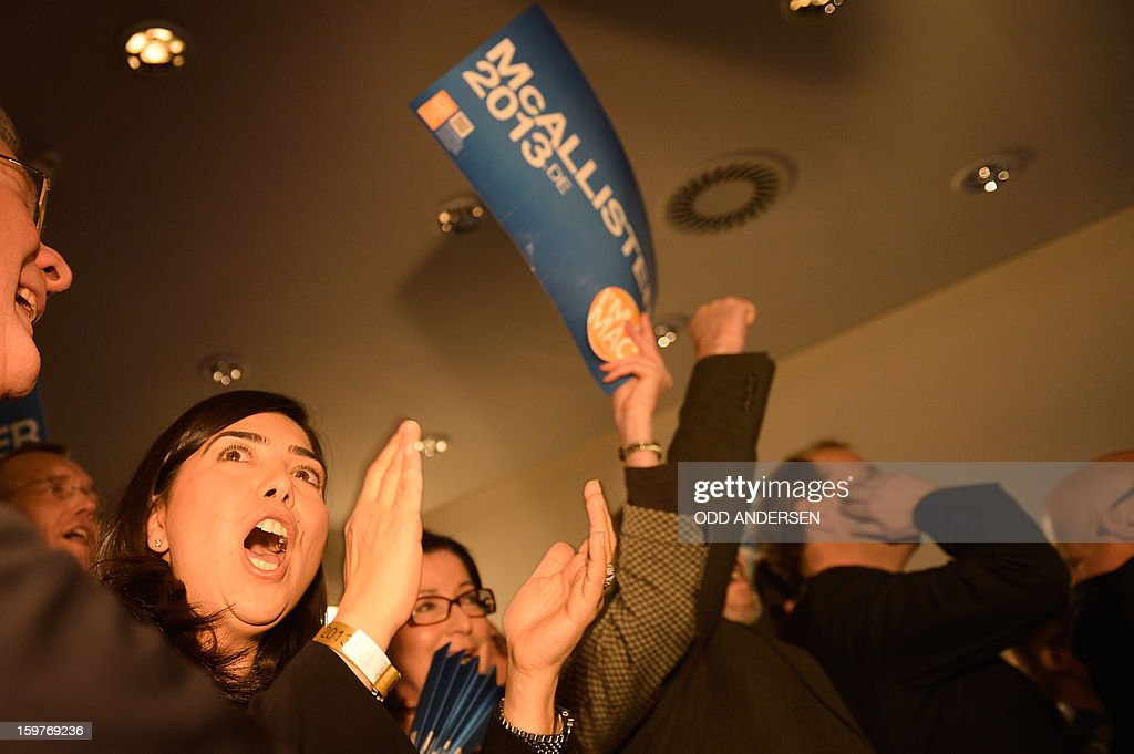 Supporters of the state premier of Lower Saxony David McAllister, cheer at the CDU elections HQ at the Landtag regional parliament in Hanover on January 20, 2013 on polling day of the local elections in the central German state of Lower Saxony. The vote is largely seen as a test run for Chancellor Angela Merkel, her rivals and would-be heirs, eight months before nationwide polls. German Chancellor Angela Merkel's party was ahead after the first state poll in a general election year, exit polls indicated, but it was unclear whether its coalition would cling to power. AFP PHOTO / ODD ANDERSEN