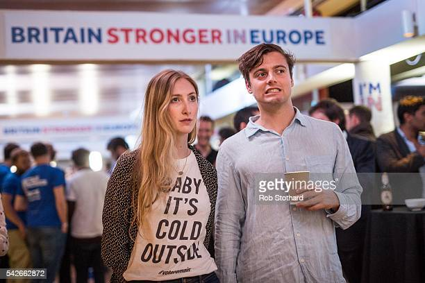 Supporters of the Stronger In Campaign react as results of the EU referendum are announced at the Royal Festival Hall on June 24 2016 in London...