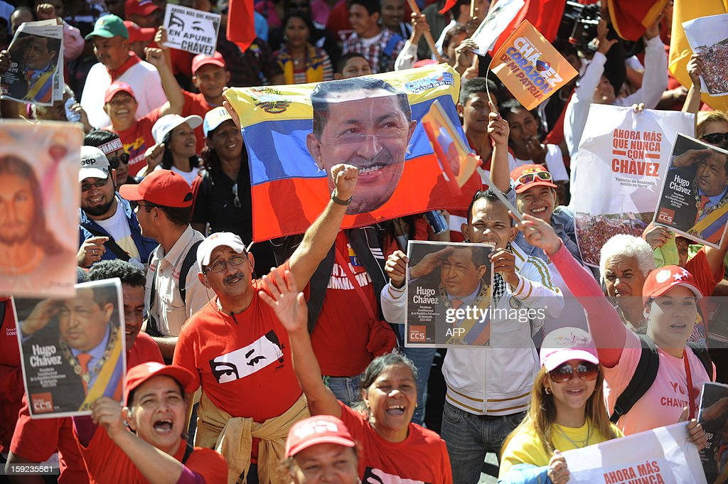Supporters of the Venezuelan President Hugo Chavez shout slogans outside Miraflores Presidential Palace during a meeting in Caracas on January 10, 2013. With Chavez ailing and absent, Venezuela's leftist government launches a new presidential term with a display of popular support on the day he was to be inaugurated. The Supreme Court cleared the cancer-stricken president to indefinitely postpone his re-inauguration and said his existing administration could remain in office until he is well enough to take the oath.AFP PHOTO/Leo RAMIREZ