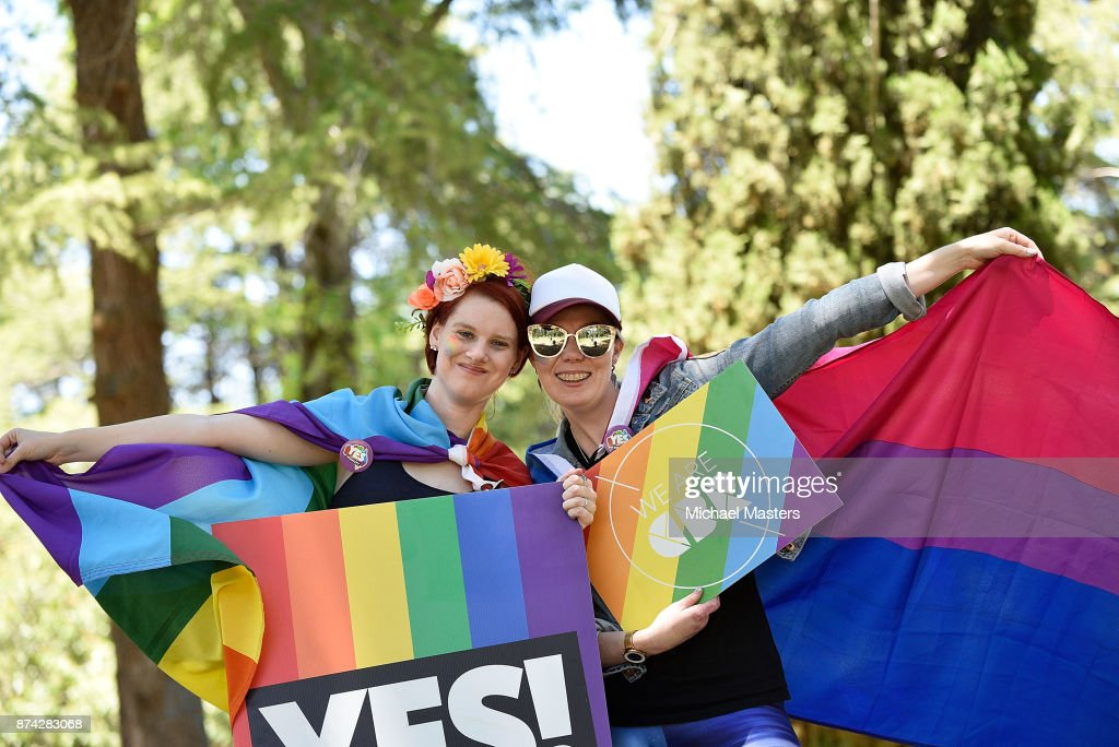 Supporters of the vote yes for marriage equality gather in Haig Park to celebrate the result on November 15, 2017 in Canberra, Australia. Australians have voted for marriage laws to be changed to allow same-sex marriage, with the Yes vote claiming 61.6 percent to to 38.4 percent for No vote. Despite the Yes victory, the outcome of Australian Marriage Law Postal Survey is not binding, and the process to change current laws will move to the Australian Parliament in Canberra.