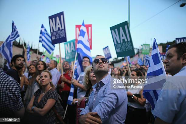 Supporters of the 'Yes' campaign attend a rally and listen to speeches at the Olympic Stadium in preparation for Sunday's referendum on July 3 2015...