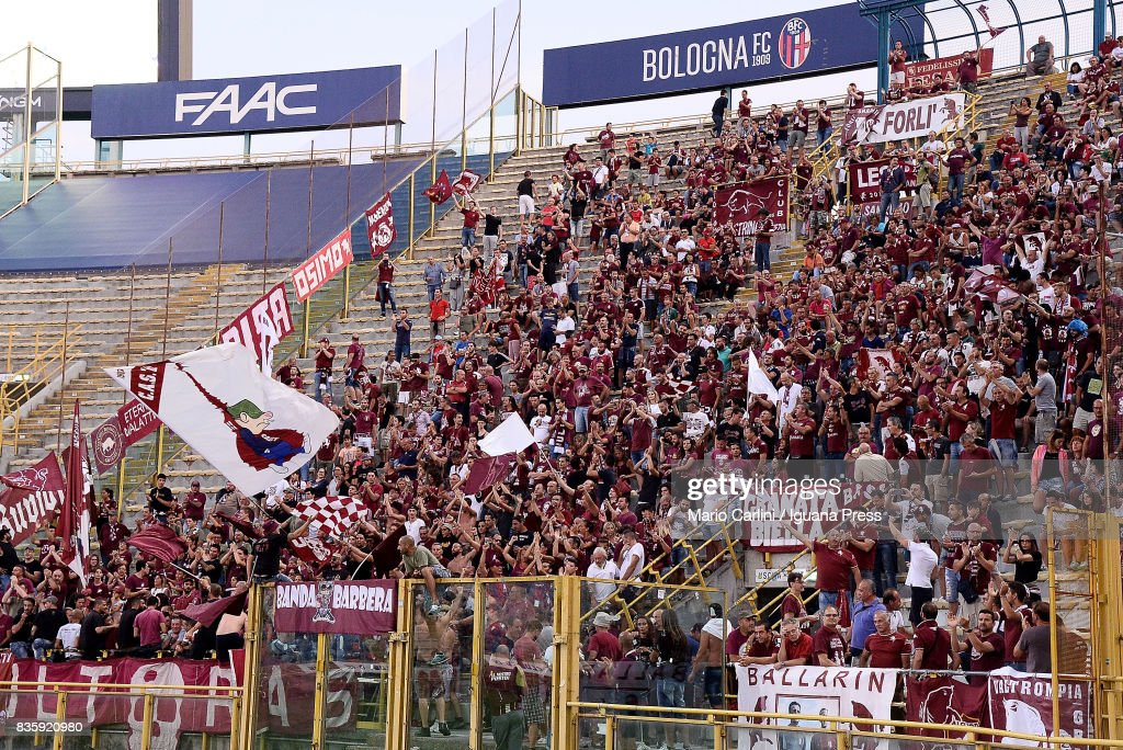 supporters of Torino FC attend the Serie A match between Bologna FC and Torino FC at Stadio Renato Dall'Ara on August 20, 2017 in Bologna, Italy.